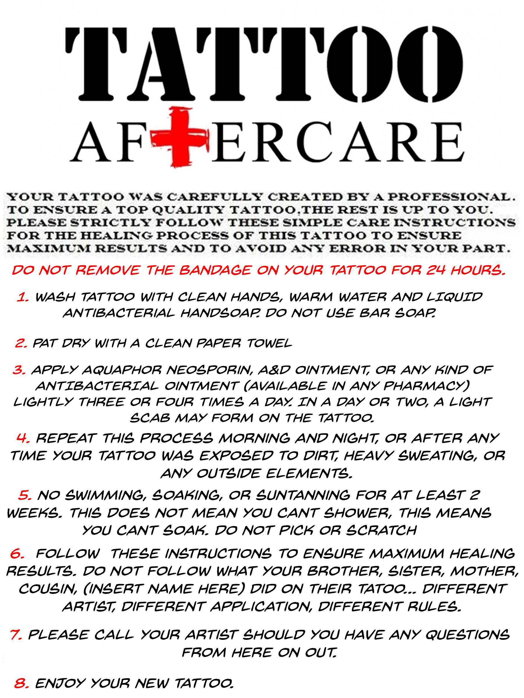 Aftercare   The Beauty Mark Tattooing Studios